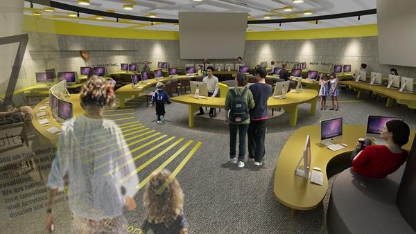 课程实践区概念图,配备计算机和3D建模软件,用于展示和教授3D建模技术(CAD)